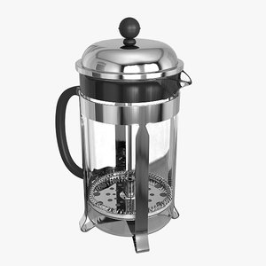 french press coffee maker 3d model