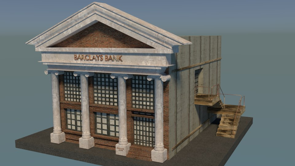 3d model building bank architecture
