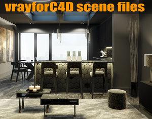c4d black luxury apartment london