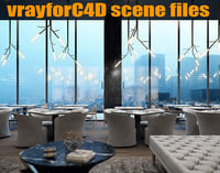 VRayforC4D Scene files - Luxury Restaurant Scene