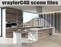 VRayforC4D Scene files - Modern Minimalist Kitchen Scene 2