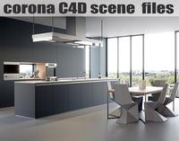 Corona C4D Scene files - Modern Minimalist Kitchen Scene