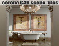 Corona C4D Scene files - African Classic Bathroom