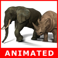 Elephant and Rhino Rigged and Animated (High and Low Poly)