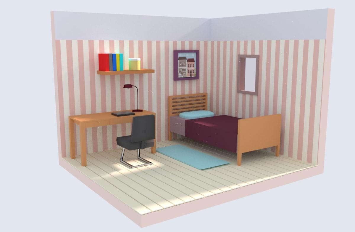 bedroom blender fbx