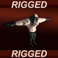 3d model rigged cartoon man character