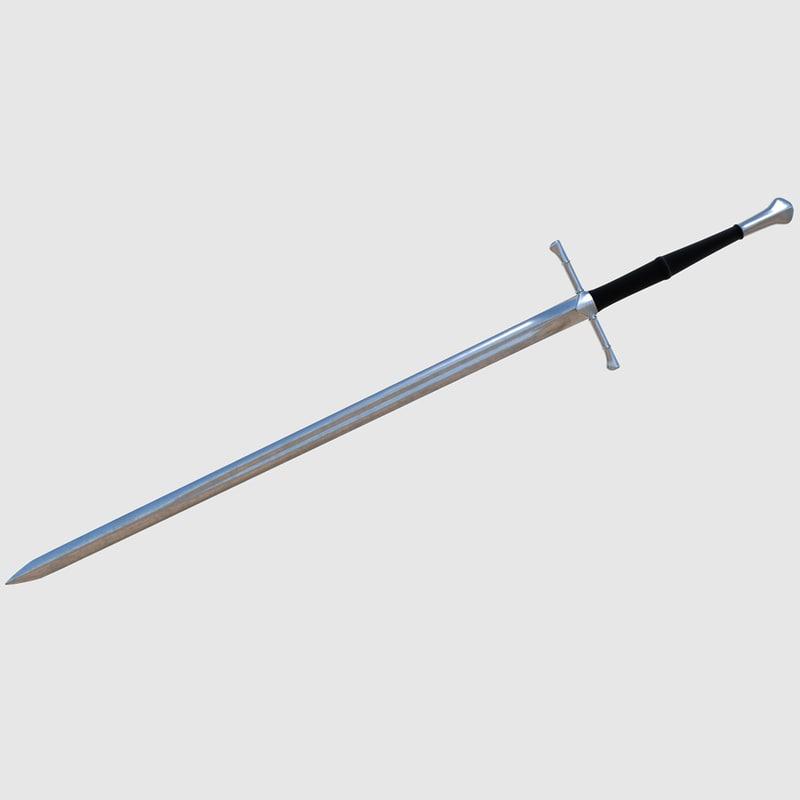 3d model long sword - ready