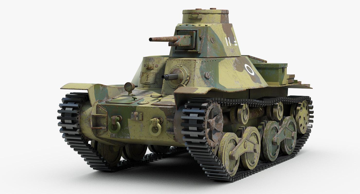 3d model japanese light tank ha
