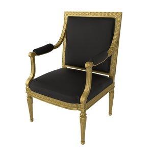 baroque chair design 3d max