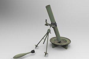 m-75 120mm mortar 3d model