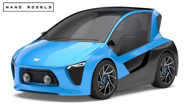 generic concept electric city car 3d obj