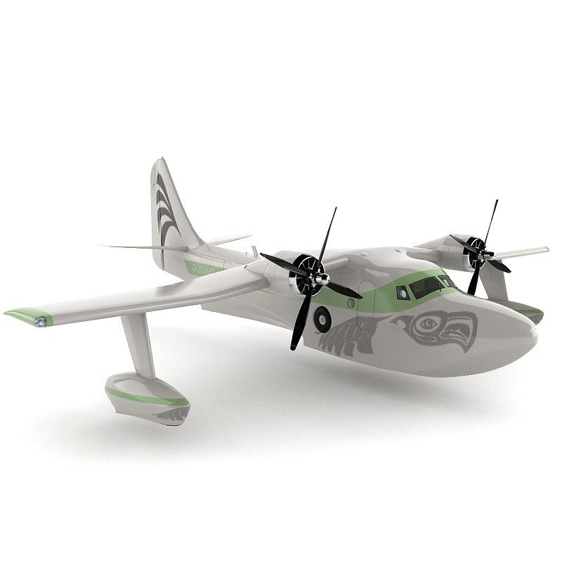 3d seaplane sea model