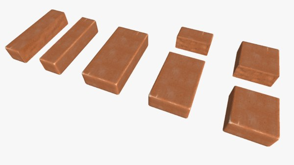 3d set red brick chipped model