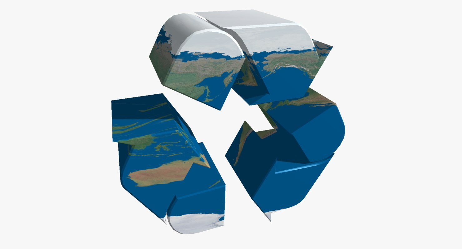 recycle logo earth 3d model