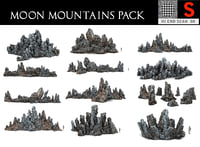 3D model moon mountains pack 10