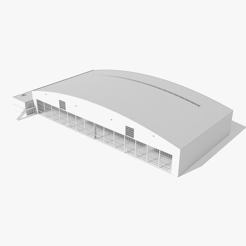 large aircraft hangar building 3d max
