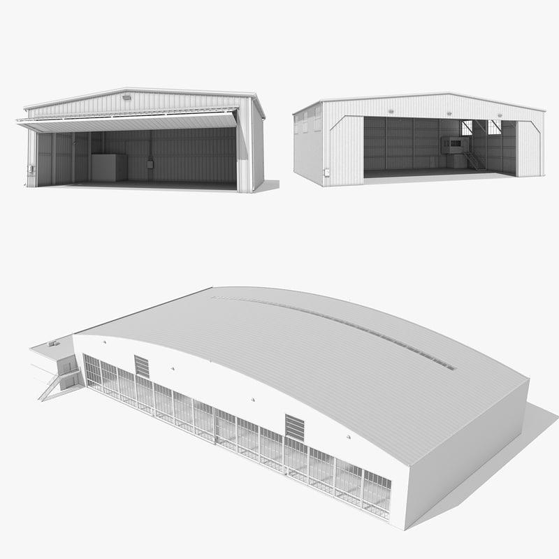 3d max 3 size hangars building
