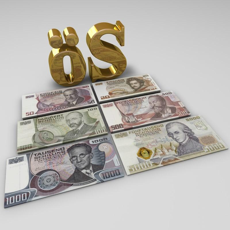3d austrian shilling banknotes model
