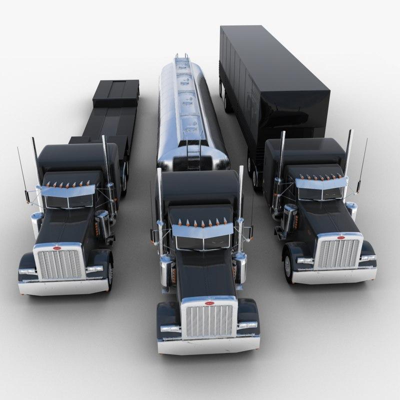 3d model van semi-trailer truck