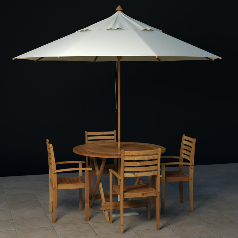 3d poolside table chairs