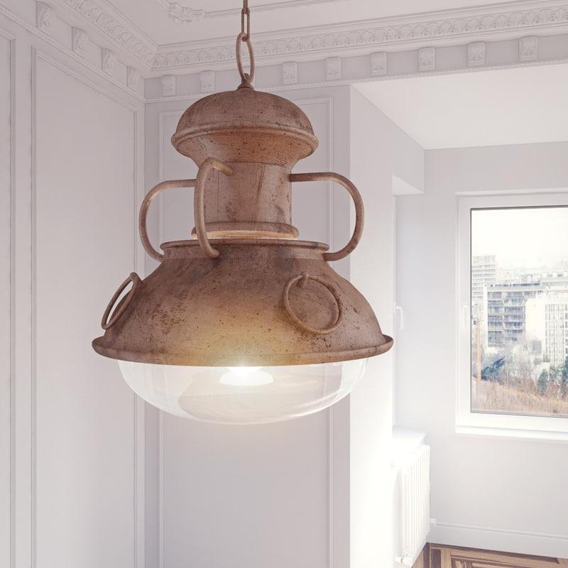 3dsmax chandelier ottone legno