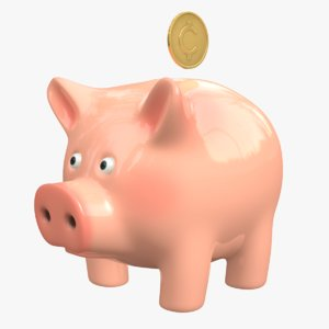 3D piggy bank coin