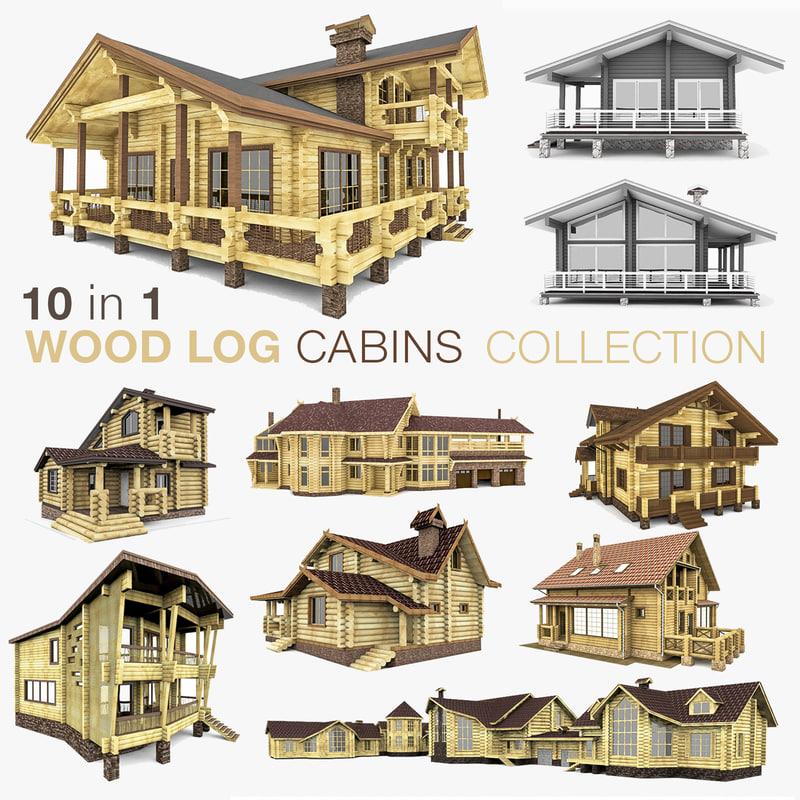 3d model wooden log houses 10
