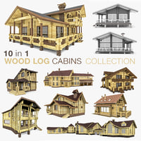 Wood Log Houses 10 in 1 Collection