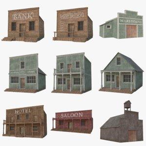 3D model western buildings 1
