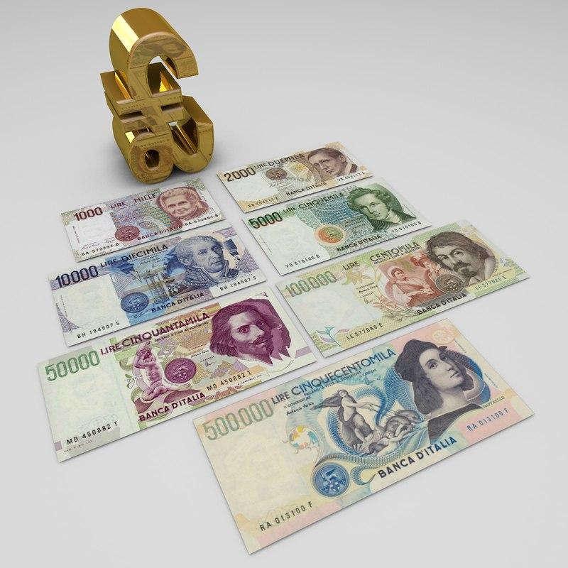 italian lira banknotes 3d c4d
