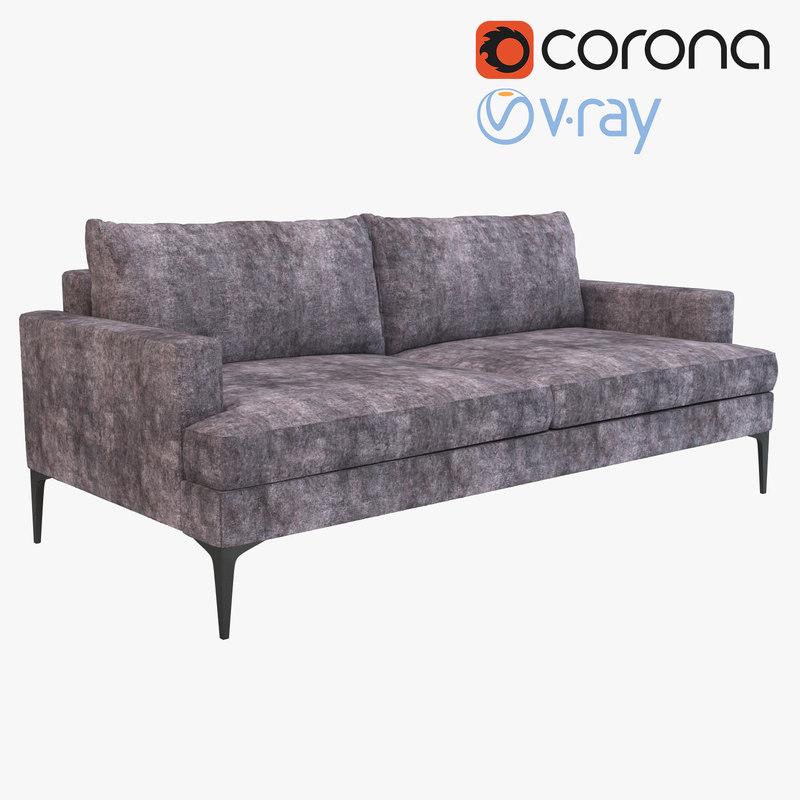 realistic andes sofa 3d obj
