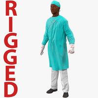 Male African American Surgeon 4 Rigged 3D Model