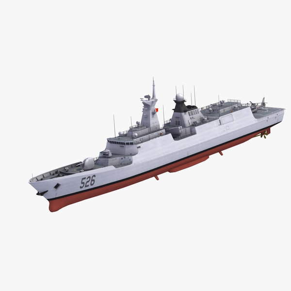 3D model chinese frigate helicopter