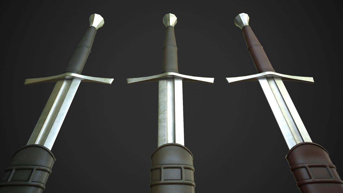medieval hand half sword 3d 3ds