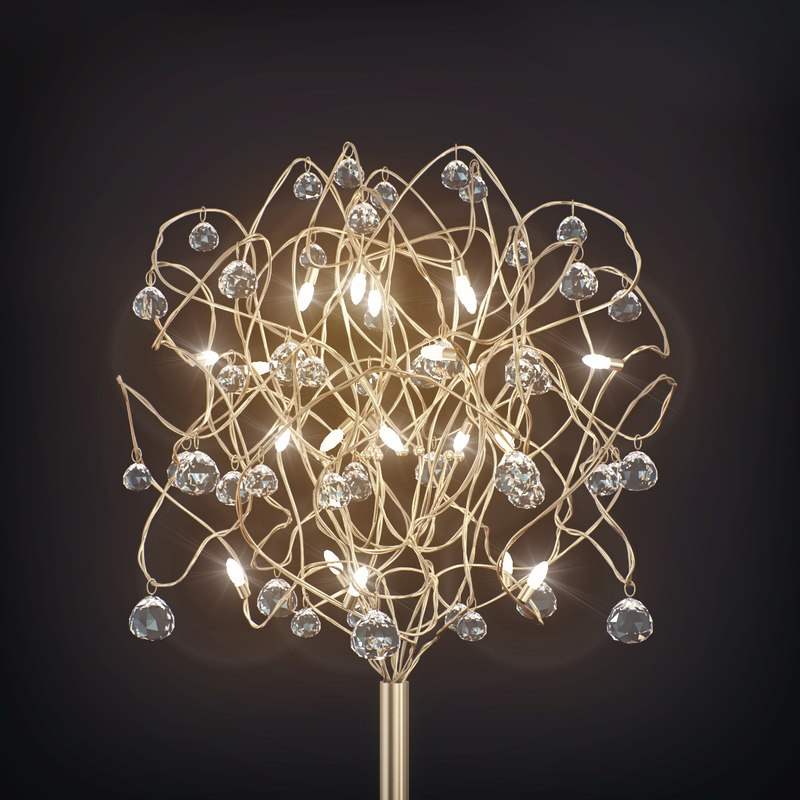 3d model floor lamp dimanond ball