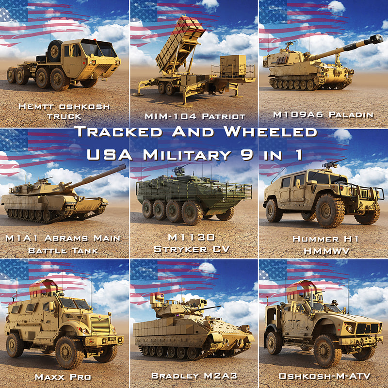 tracked wheeled usa military model