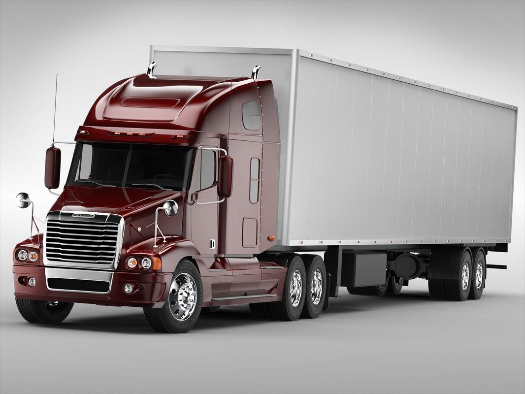 3d model freightliner truck trailer