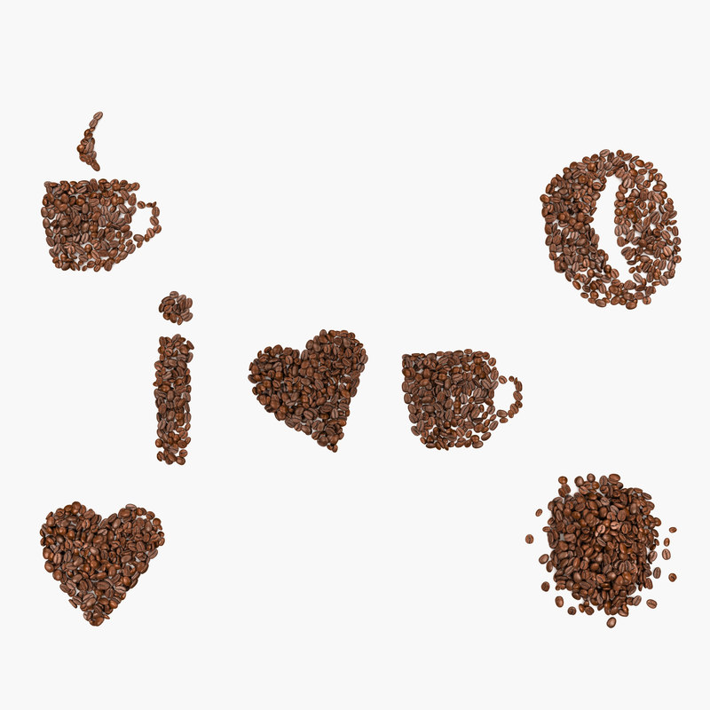 3d coffee beans - love model