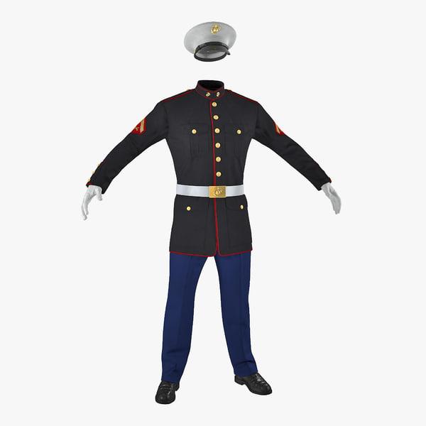 3D marine corps parade uniform model