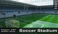 stadium goals field 3d max