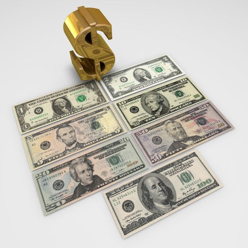 us-dollar banknotes dollar 3d model