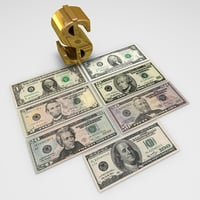 us-dollar banknotes dollar 3d model