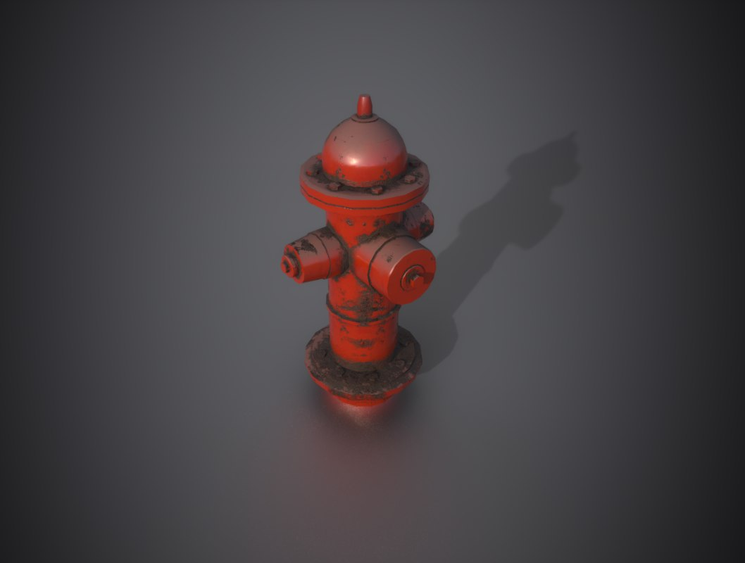 3D hydrant low-poly model