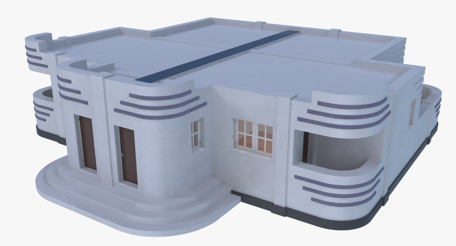 streamline moderne home interior fbx