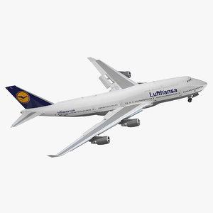 boeing 747 400er lufthansa 3d model