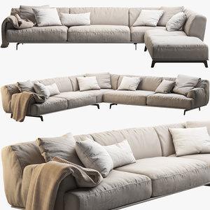 tribeca poliform sofa seat 3d obj