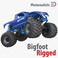 Monster Truck Bigfoot Generic Rigged 3D Model