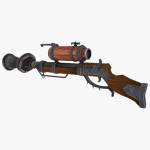 3d steampunk rifle model