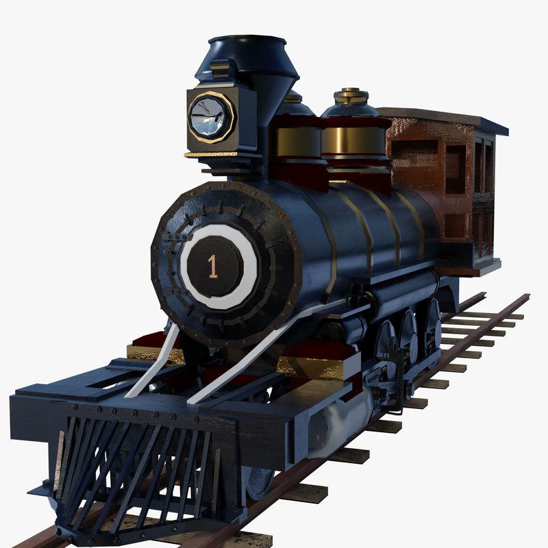 train steam rigged 3d obj