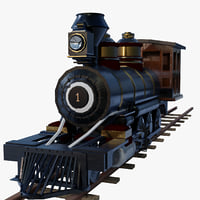 train steam rigged 3d obj